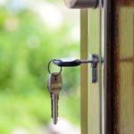 Key in a wooden door